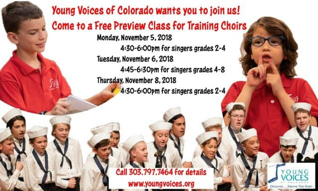 Free Preview Training Choir Classes @ Young Voices of Colorado Studios | Englewood | Colorado | United States