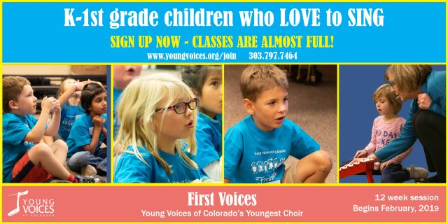 FirstVoices - Sign Up NOW! Classes are filling fast! @ Young Voices of Colorado | Englewood | Colorado | United States
