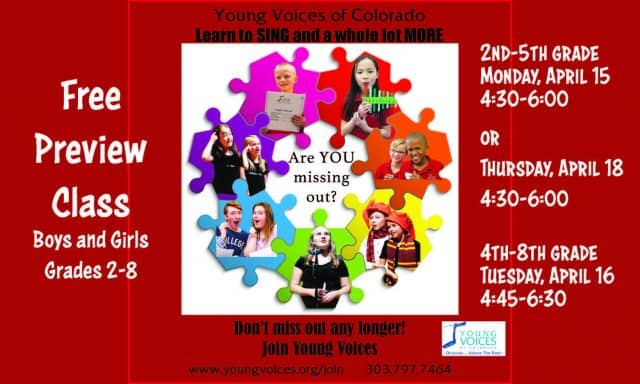 Free Preview Class @ Young Voices of Colorado Studios | Englewood | Colorado | United States